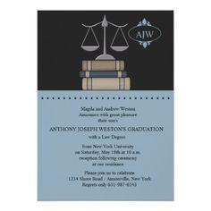 """Scale of Justice Blue, Law School Invitation 5"""" X 7"""" Invitation Card"""
