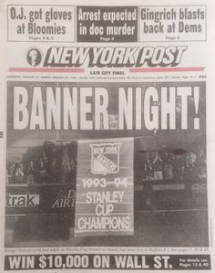 January Stanley Cup banner finally gets raised to the rafters after a half season lockout. Rangers Team, Rangers Hockey, Hockey Mom, New York Rangers, Ice Hockey, Stanley Cup Champions, January 22, Madness, Banner