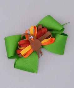 Green Bow & Fall Turkey Clip
