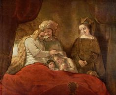 """Jacob Blessing the Sons of Joseph is a 1656 oil painting by Dutch artist Rembrandt van Rijn. It is said to have almost """"a sculptural surface with a translucent glaze over paint"""". This piece is housed in the Museumslandschaft Hessen Kassel in Kassel, Germany"""