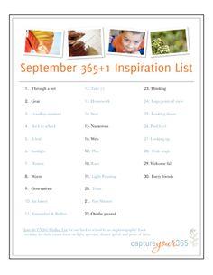 September Project 365 Idea List | CaptureYour365