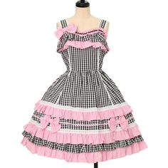 ♡ Angelic pretty ♡ Pink black gingham plaid jumper skirt http://www.wunderwelt.jp/products/detail12494.html ☆ ·.. · ° ☆ How to order ☆ ·.. · ° ☆ http://www.wunderwelt.jp/user_data/shoppingguide-eng ☆ ·.. · ☆ Japanese Vintage Lolita clothing shop Wunderwelt ☆ ·.. · ☆