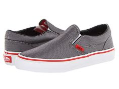 Vans Kids Classic Slip-On (Little Kid/Big Kid) (Micro Herringbone) Limestone/High Risk Red - Zappos.com Free Shipping BOTH Ways