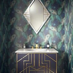 Make a splash with electric #wallpaper & our exclusive Gatsby vanity unit. Find out more about our #artdeco units here.