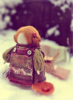 """Коллекционные куклы ручной работы. Ярмарка Мастеров - ручная работа Кукла-образ """"...Айна...по снегу за волшебными ягодами"""". Handmade."""