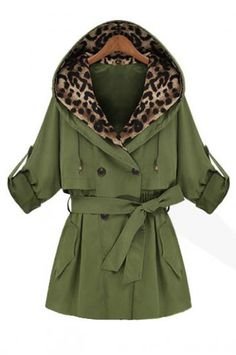 Double-breasted hooded coat leopard loose belt decoration_Coats_CLOTHING_Voguec Shop