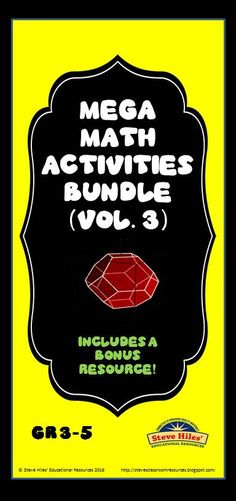Save 20% more than if you purchased all of the resources individually!  This Mega Math Activities Bundle (vol.3) Gr 3-5, contains a total of 6 resources plus a bonus! The products are as follows: (1) Multi-Step Word Problem Task Cards (PDF), (2) Mathematics Assessment -- numbers & operations (PDF), (3) Mental Math Daily Warm-up (PDF), (4) Math Spiral Weekly Matrix (PDF & PPT) versions, (5) Fourth Grade Practice Test (PDF), (6) Find the Error! (B/W & color PDF'S, and (7) The BONUS resource!
