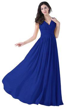 Diyouth Women's Elegant V-neck Floor-length Chiffon Bridesmaid Dress Royal blue Size 22 Plus