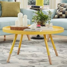 MID-CENTURY LIVING Marcella Paint-dipped Round Spindle Tray Top Coffee Table