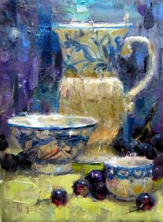 Blue and White Study, painting by artist Julie Ford Oliver