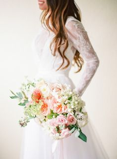 Softer garden bouquet of garden roses, hydrangea, Veronica and roses: http://www.stylemepretty.com/2015/07/20/24-garden-wedding-details-that-will-have-everything-coming-up-roses/