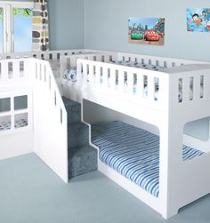 Deluxe Funtime High Sleeper Bunk Bed with Drawers and Stair Drawers - Bunk Beds - Kids Beds - Kids Funtime Beds Custom Bunk Beds, Cool Bunk Beds, Twin Bunk Beds, Kids Bunk Beds, Unique Bunk Beds, Low Loft Beds, Bunk Beds With Drawers, Bunk Beds With Stairs, Stair Drawers