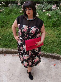 Plus-size summer outfit by Your Clothing: Floral midi dress + Knit shrug. https://fattyfair.wordpress.com/2014/06/13/plus-size-curvy-outfit-pop-summer-yours-clothing-review/