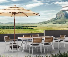 Entertain your friends and family in laid-back, comfortable style with the St Lucia 7 Piece Outdoor Dining Set from Contemporary Outdoor Dining Furniture, Furniture Dining Table, Outdoor Dining Set, Patio Dining, Outdoor Living, Outdoor Furniture Sets, Outdoor Decor, Rattan Furniture, Dining Tables