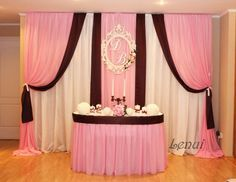 Love the draping but in different color scheme Wedding Stage Backdrop, Wedding Draping, Wedding Stage Decorations, Backdrop Decorations, Flower Backdrop, Birthday Decorations, Backdrop Design, Backdrops For Parties, Event Decor