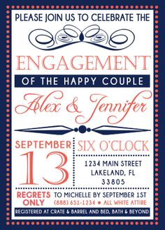 I am obsessed with this engagement party invitation!! Would be great for Bridal Shower also!!