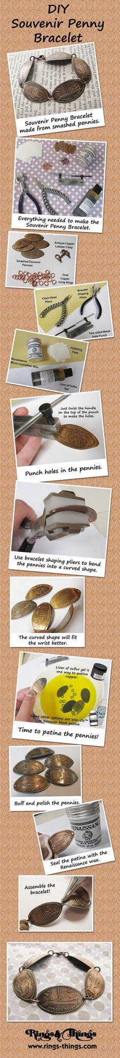 DIY Souvenir Penny Bracelet.  A tutorial from Rings & Things.