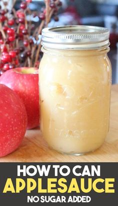 Canning Applesauce without Sugar Canning applesauce is an easy water bath canning recipe for beginners! This applesauce recipe has no sugar added and can be made without a canner! Learning how to make and can applesauce at home is a great skill to have! Applesauce Recipes Canning, Canned Applesauce, Home Canning Recipes, Canning Tips, Homemade Applesauce, How To Can Applesauce, Pressure Canning Recipes, Easy Canning, Pressure Cooking