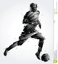 Soccer player carrying the ball made of colorful brushstrokes , Soccer Player Tattoos, Soccer Players, Free Vector Images, Vector Art, Bad Candy, Soccer Art, Association Football, Typography Poster, Tattoo Sketches