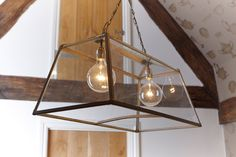 Glass And Metal Box Pendant Light (Large)  By DesResDesign