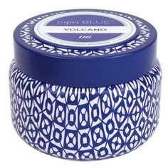 Capri Blue Printed Tin Candle ($16) ❤ liked on Polyvore featuring home, home decor, candles & candleholders, volcano, blue scented candles, jasmine candle, capri blue candles, citrus scented candles and jasmine scented candles