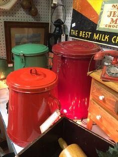 Vintage European enamelware food storage canisters Storage Canisters, Vintage Enamelware, Food Storage, Crock, Slow Cooker, Kitchen Appliances, Diy Kitchen Appliances, Crockpot, Home Appliances