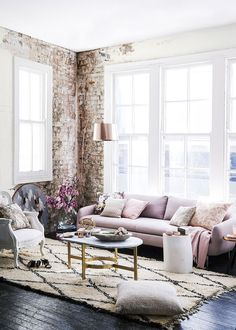 Gorgeous living space with rose gold and gold accents, pinks and frey with exposed brick. Emma Courtney: Friday Favourites: Design