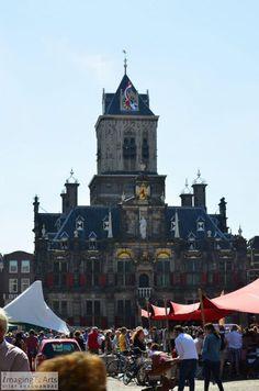 Historic city hall in the center of Delft in The Netherlands.  Stadhuis in het centrum van Delft