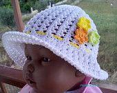 crochet / hat / flower / children / ideas / yarns / hooks / stitches / children / ideas / beautiful / gift / crafts / summer / sun hat / spring / cotton / handmade / etsy / white / orange / yellow / green