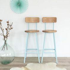 barstool, bar stool, bar chair, mid century modern, vintage, industrial, wood and metal, ice blue, set of 2, Felix model