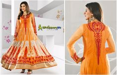 Buy Beautiful Sunset Orange Red #FloorLength #AnarkaliSuit Online at special discount rates. Click to Shop: -  http://www.shoppers99.com/neha_dhupia_designer_anarkali_suits/sunset_orange_red_floor_length_anarkali_suit_t-484-575