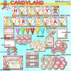 CANDYLAND PARTY PRINTABLE COLLECTION http://mimisdollhouse.com/product/candyland-party-printable-collection/  #CandyLand #CandyLandParty #BirthdayParty #Candy #CandyParty