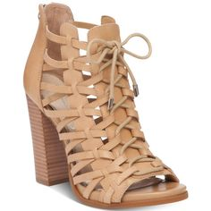 Jessica Simpson Riana Lace-Up Block-Heel Dress Sandals (7.280 RUB) ❤ liked on Polyvore featuring shoes, sandals, sand castle, laced shoes, jessica simpson footwear, block heel sandals, sand shoes and laced up shoes