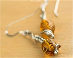 Amber Spiral Earrings with Sterling Silver - Jewelry by Jason Stroud.