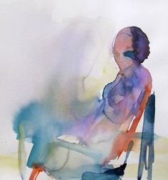 """Sitting Lonely - watercolor,"" original figurative painting by artist Sylvia Baldeva (France) available at Saatchi Art #SaatchiArt"