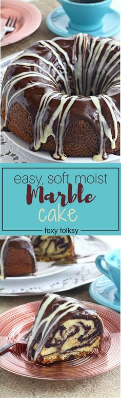 Get this simple and easy recipe for a soft, spongy yet moist Marble cake. | www.foxyfolksy.com