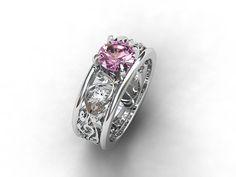Wide filigree ring with pink morganite and diamonds by TorkkeliJewellery