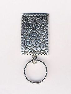 6b5b5d5c04e Silvertone Etched Rectangle Pendant Badge Eyeglass Holder Magnetic Pin  Eyeglass Holder