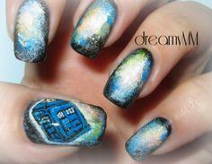 Galaxy Dr. Who Tardis Nail Art Tutorial