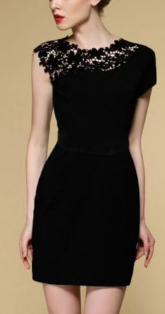 Love the lace of this black classic dress