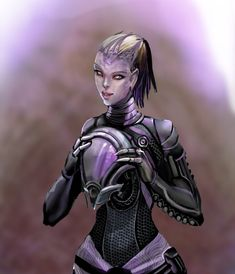 this is my vision of how Tali must look like under the helmet, it had been poking me for so long and i decided to draw it XD i didnt want to draw her completly looking like a human but through her ...