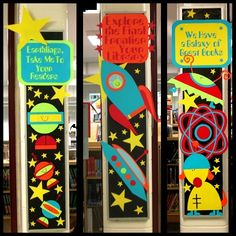 great bulletin board ideas...we have a galaxy of great books, explore the final frontier - your library