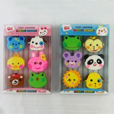 zoo animal pencil erasers rubber student prizes cute for kids eraser lot cartoon novelty stationery school supplies kawaii