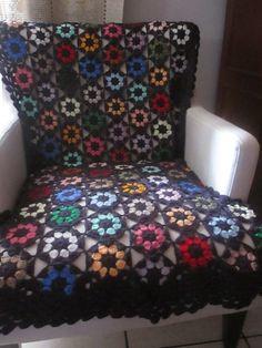Manta de crochê para poltrona ou cadeira
