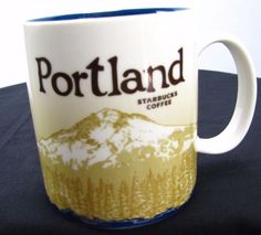 Starbucks Coffee PORTLAND Global Icon Series Mug Mt. Hood & Skyline Year 2009 #Starbucks