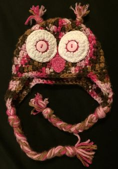 Baby Earflap Hat - Pink and Brown Owl