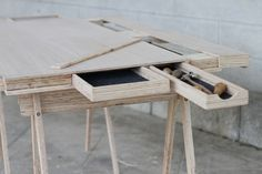 HIPDESK | Camille Prigent; not only like the hidden dealers, the LVL strandboad-looking edge is cool