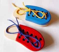 Wooden Lacing Shoe, Montessori toy, Handmade Educational Toy