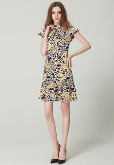Fashion Designer Runway Dress Summer Women Dress Bow collar Short sleeve  Leopard print Slim Sexy Mermaid Dresses  dresses  dress  tees  party   sweaters ... 7db230c29f65