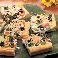 Veggie pizza. 2 tubes (8 ounces each) refrigerated crescent rolls 1 cup mayonnaise 1 package (8 ounces) Philadelphia® Cream Cheese, softened 1 tablespoon dill weed 2-1/2 cups assorted chopped fresh vegetables (cucumber, radishes, broccoli, onion, green pepper, carrots, celery, mushrooms) 1/2 cup sliced ripe olives 3/4 cup shredded cheddar cheese 3/4 cup shredded part-skim mozzarella cheese